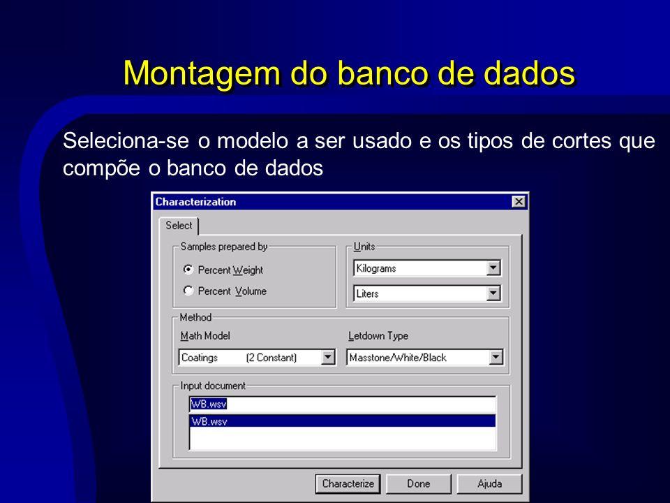 Montagem do banco de dados Seleciona-se o modelo a ser usado e os tipos de cortes que compõe o banco de dados