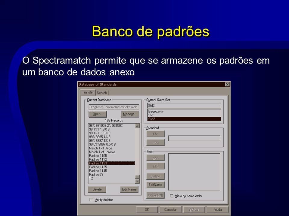 O Spectramatch permite que se armazene os padrões em um banco de dados anexo