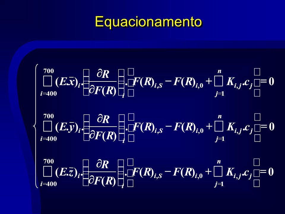 Equacionamento 700 4001,0,, 0.)()(. )(.).( i n j jjiiSi i i cKRFRF RF R zE 700 4001,0,, 0.)()(. )(.).( i n j jjiiSi i i cKRFRF RF R yE 700 4001,0,, 0.