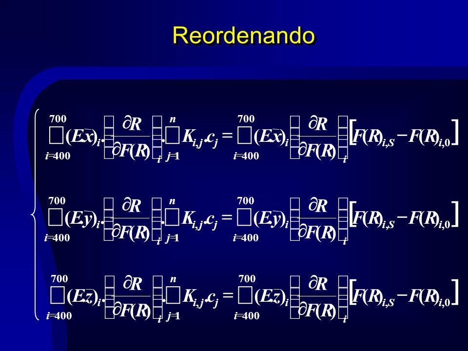 Reordenando 700 400 0,, 700 4001, )()( )( ).(.. )(.).( i iSi i i i n j jji i i RFRF RF R zEcK RF R zE 700 400 0,, 700 4001, )()( )( ).(.. )(.).( i iSi