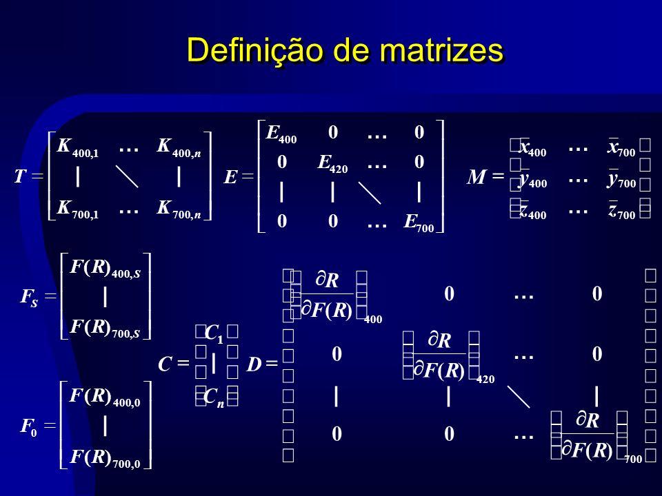 Definição de matrizes n C C C | 1 S S S RF RF F,700,400 )( )( | 0,700 0,400 0 )( )( RF RF F | 700400 700400 700400 zz yy xx M … … … n n KK KK T,7001,,