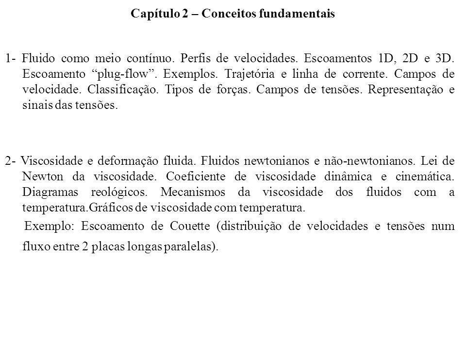 3- Descrição e classificação dos escoamentos fluidos: 1) Internos, em canal e externos; 2) Laminar e turbulento.