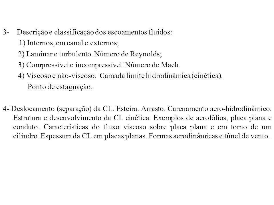 3- Descrição e classificação dos escoamentos fluidos: 1) Internos, em canal e externos; 2) Laminar e turbulento. Número de Reynolds; 3) Compressível e