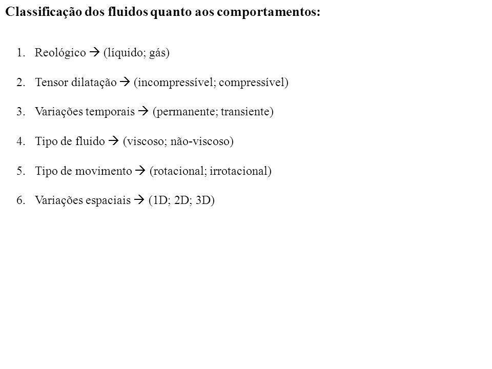 Classificação dos fluidos quanto aos comportamentos: 1.Reológico (líquido; gás) 2.Tensor dilatação (incompressível; compressível) 3.Variações temporai
