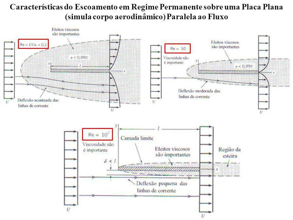 Características do Escoamento em Regime Permanente sobre uma Placa Plana (simula corpo aerodinâmico) Paralela ao Fluxo