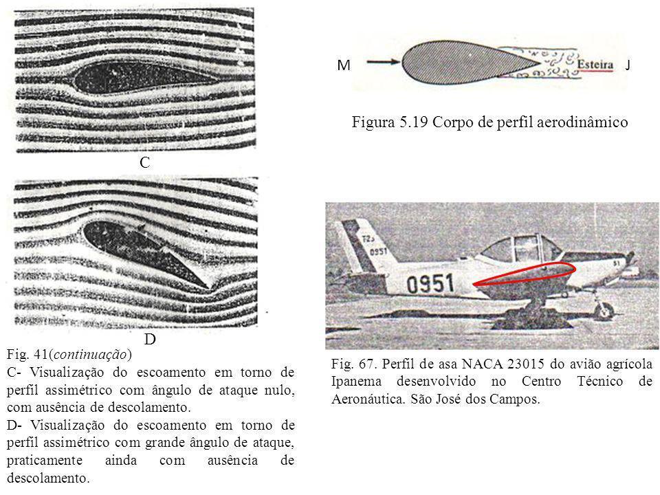 Fig. 41(continuação) C- Visualização do escoamento em torno de perfil assimétrico com ângulo de ataque nulo, com ausência de descolamento. D- Visualiz