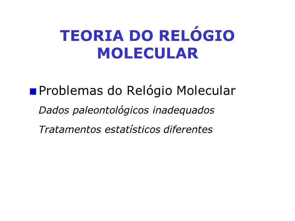 Problemas do Relógio Molecular Dados paleontológicos inadequados Tratamentos estatísticos diferentes TEORIA DO RELÓGIO MOLECULAR