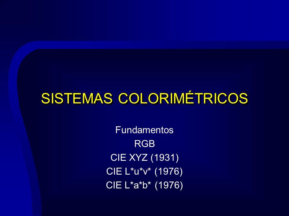 SISTEMAS COLORIMÉTRICOS Fundamentos RGB CIE XYZ (1931) CIE L*u*v* (1976) CIE L*a*b* (1976)
