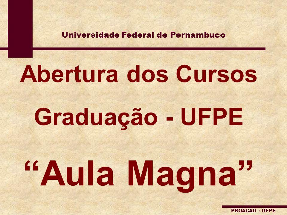 Universidade Federal de Pernambuco PROACAD - UFPE Abertura dos Cursos Graduação - UFPE Aula Magna