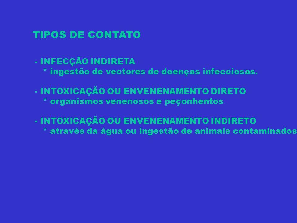 INVERTEBRADOS POTENCIALMENTE PERIGOSOS - ORGANISMOS NÃO-VENENOSOS * Vectores intermediários de ciclos de vida de animais infecciosos * Portadores de organismos ou substancias venenosas - ORGANISMOS VENENOSOS