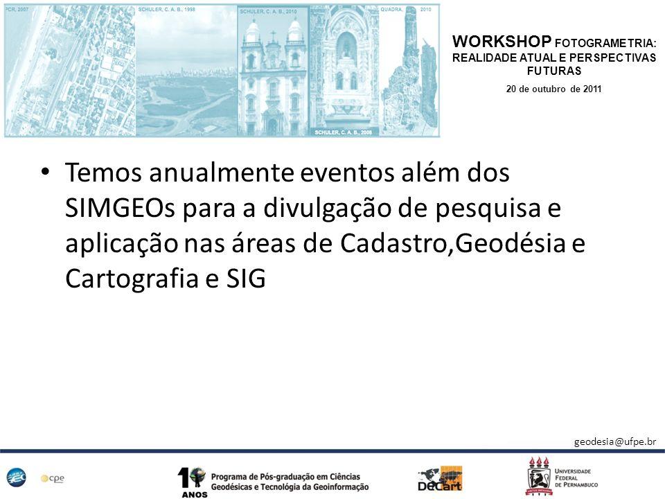 Temos anualmente eventos além dos SIMGEOs para a divulgação de pesquisa e aplicação nas áreas de Cadastro,Geodésia e Cartografia e SIG WORKSHOP FOTOGR