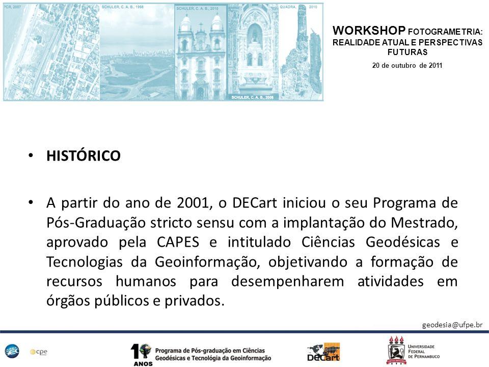 HISTÓRICO A partir do ano de 2001, o DECart iniciou o seu Programa de Pós-Graduação stricto sensu com a implantação do Mestrado, aprovado pela CAPES e