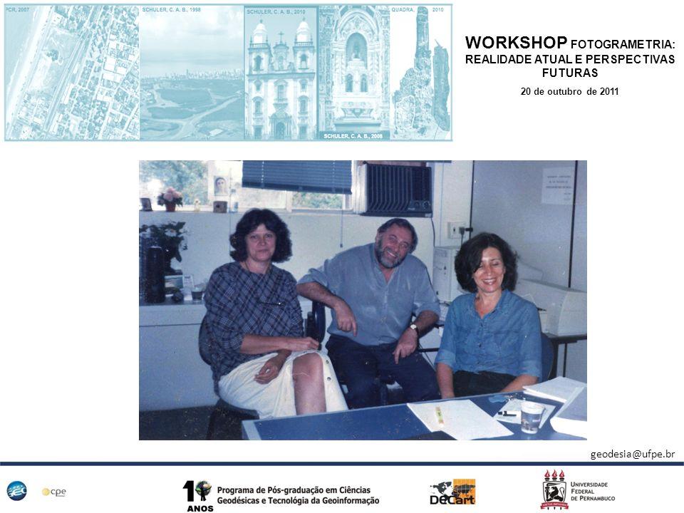 WORKSHOP FOTOGRAMETRIA: REALIDADE ATUAL E PERSPECTIVAS FUTURAS 20 de outubro de 2011 Período Coordenador/Vice Coordenador 2001-2003 Profa.