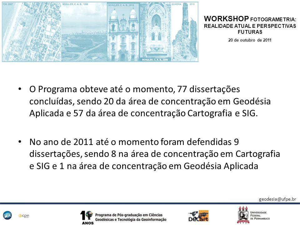 O Programa obteve até o momento, 77 dissertações concluídas, sendo 20 da área de concentração em Geodésia Aplicada e 57 da área de concentração Cartog