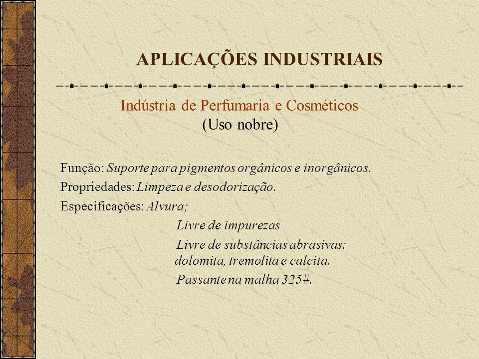 APLICAÇÕES INDUSTRIAIS Indústria de Perfumaria e Cosméticos (Uso nobre) Função: Suporte para pigmentos orgânicos e inorgânicos. Propriedades: Limpeza