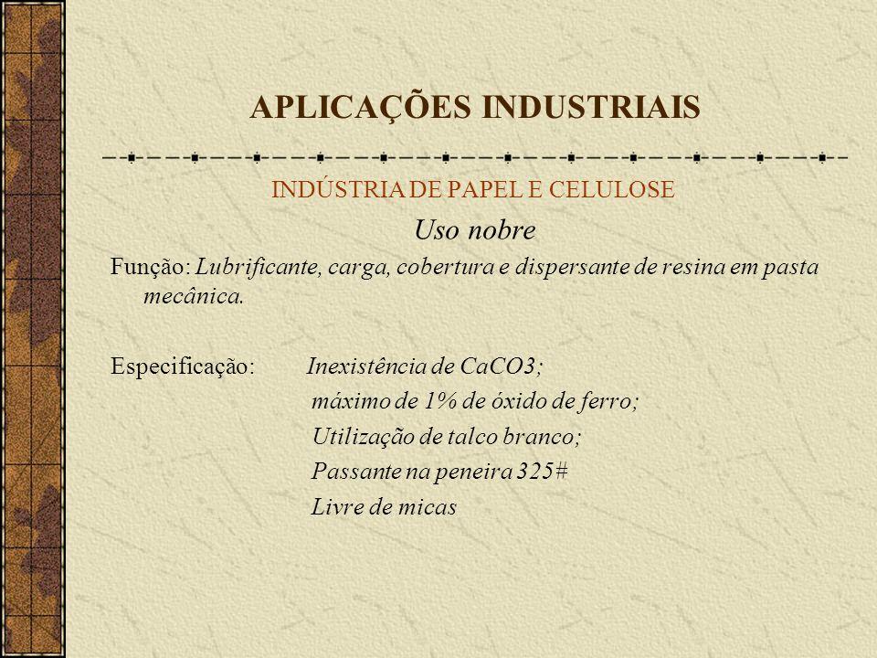 APLICAÇÕES INDUSTRIAIS INDÚSTRIA DE PAPEL E CELULOSE Uso nobre Função: Lubrificante, carga, cobertura e dispersante de resina em pasta mecânica. Espec