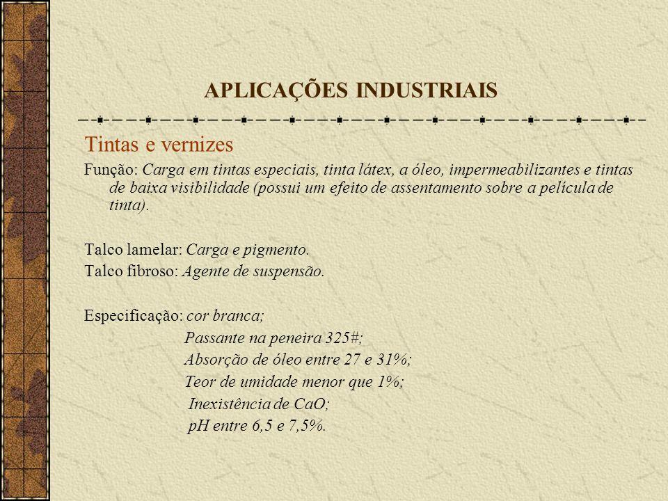 APLICAÇÕES INDUSTRIAIS Tintas e vernizes Função: Carga em tintas especiais, tinta látex, a óleo, impermeabilizantes e tintas de baixa visibilidade (po
