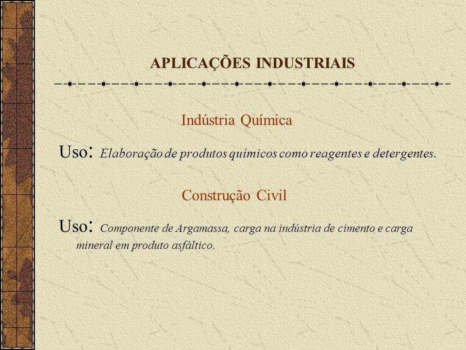 APLICAÇÕES INDUSTRIAIS Indústria Química Uso : Elaboração de produtos químicos como reagentes e detergentes. Construção Civil Uso : Componente de Arga