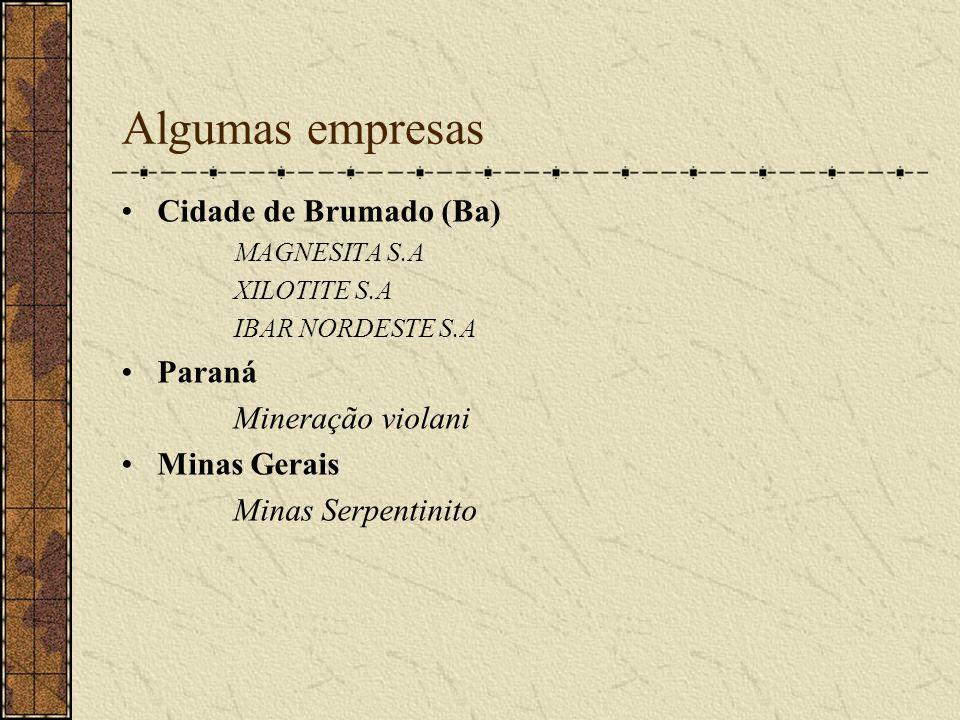 Algumas empresas Cidade de Brumado (Ba) MAGNESITA S.A XILOTITE S.A IBAR NORDESTE S.A Paraná Mineração violani Minas Gerais Minas Serpentinito