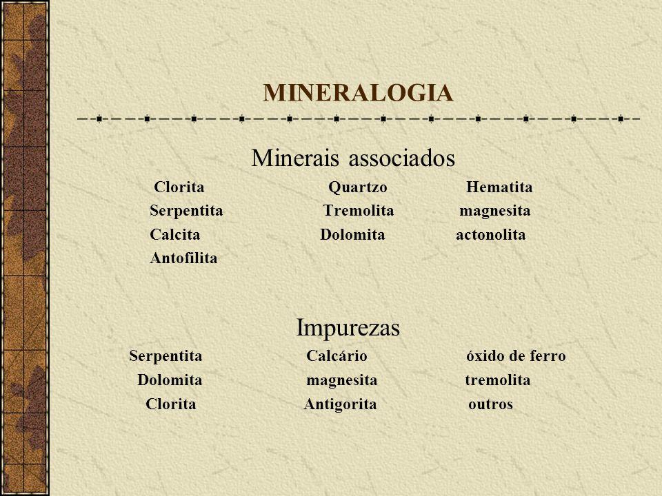 MINERALOGIA Minerais associados Clorita Quartzo Hematita Serpentita Tremolita magnesita Calcita Dolomita actonolita Antofilita Impurezas Serpentita Ca