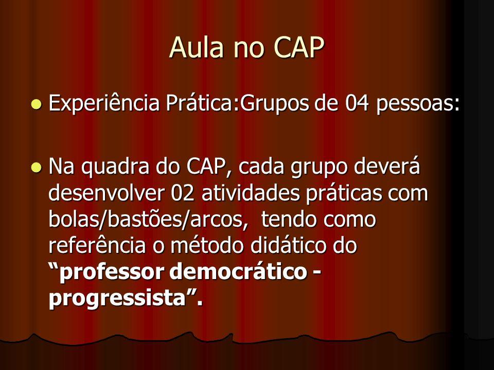 Aula no CAP Experiência Prática:Grupos de 04 pessoas: Experiência Prática:Grupos de 04 pessoas: Na quadra do CAP, cada grupo deverá desenvolver 02 ati