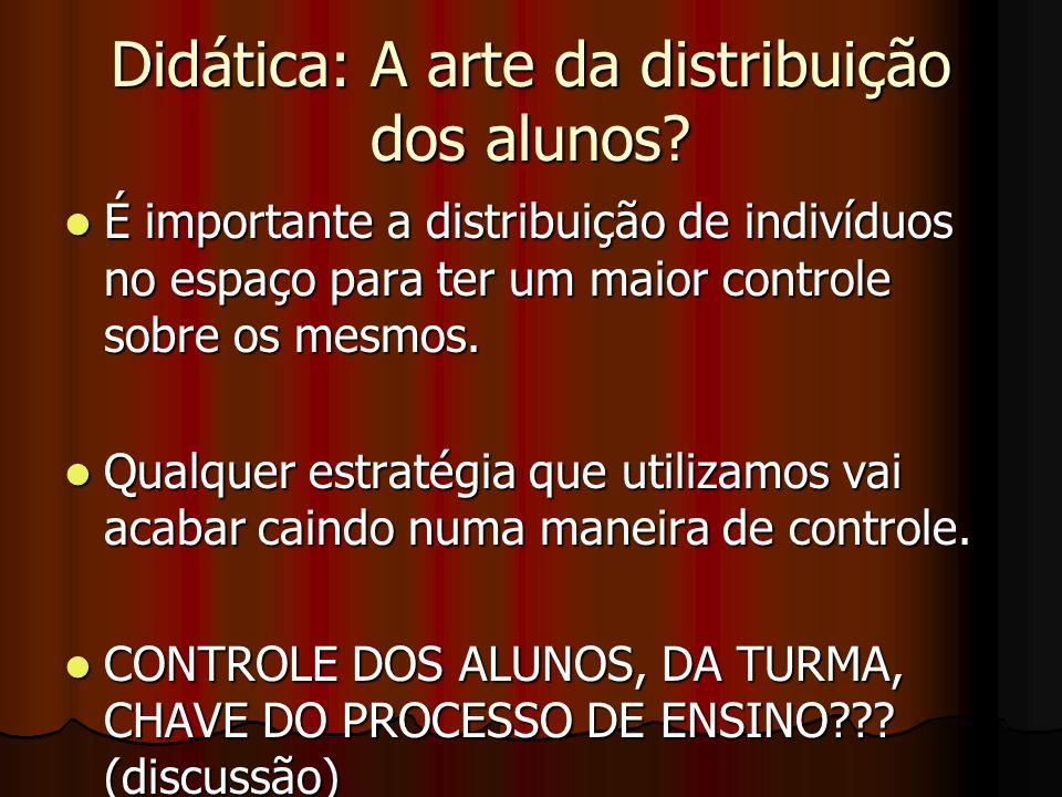 Didática: A arte da distribuição dos alunos? É importante a distribuição de indivíduos no espaço para ter um maior controle sobre os mesmos. É importa