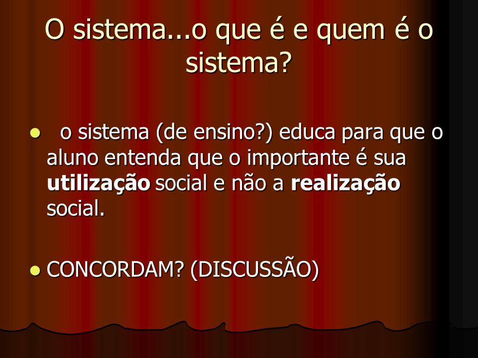 O sistema...o que é e quem é o sistema? o sistema (de ensino?) educa para que o aluno entenda que o importante é sua utilização social e não a realiza