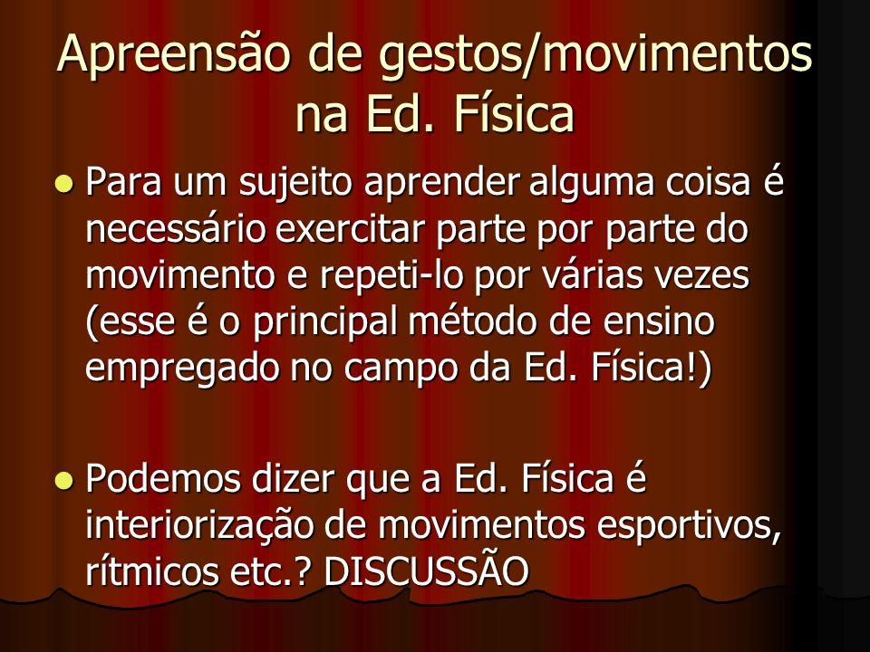 Apreensão de gestos/movimentos na Ed. Física Para um sujeito aprender alguma coisa é necessário exercitar parte por parte do movimento e repeti-lo por