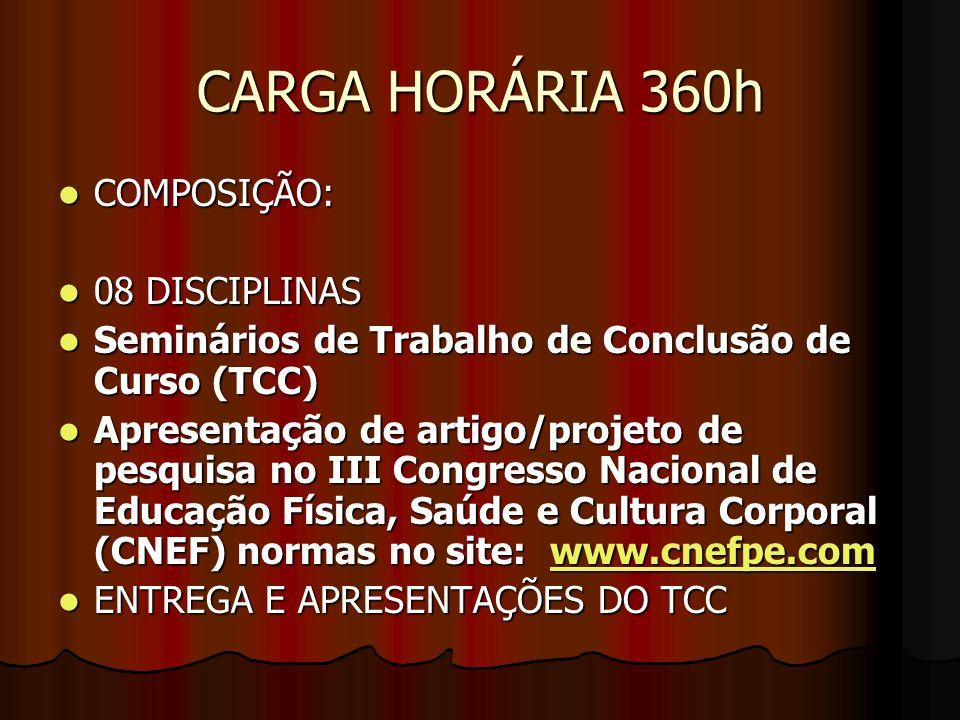 CARGA HORÁRIA 360h COMPOSIÇÃO: COMPOSIÇÃO: 08 DISCIPLINAS 08 DISCIPLINAS Seminários de Trabalho de Conclusão de Curso (TCC) Seminários de Trabalho de