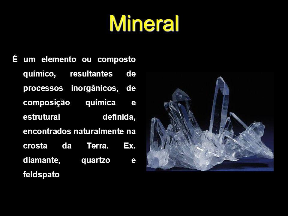 Mineral É um elemento ou composto químico, resultantes de processos inorgânicos, de composição química e estrutural definida, encontrados naturalmente