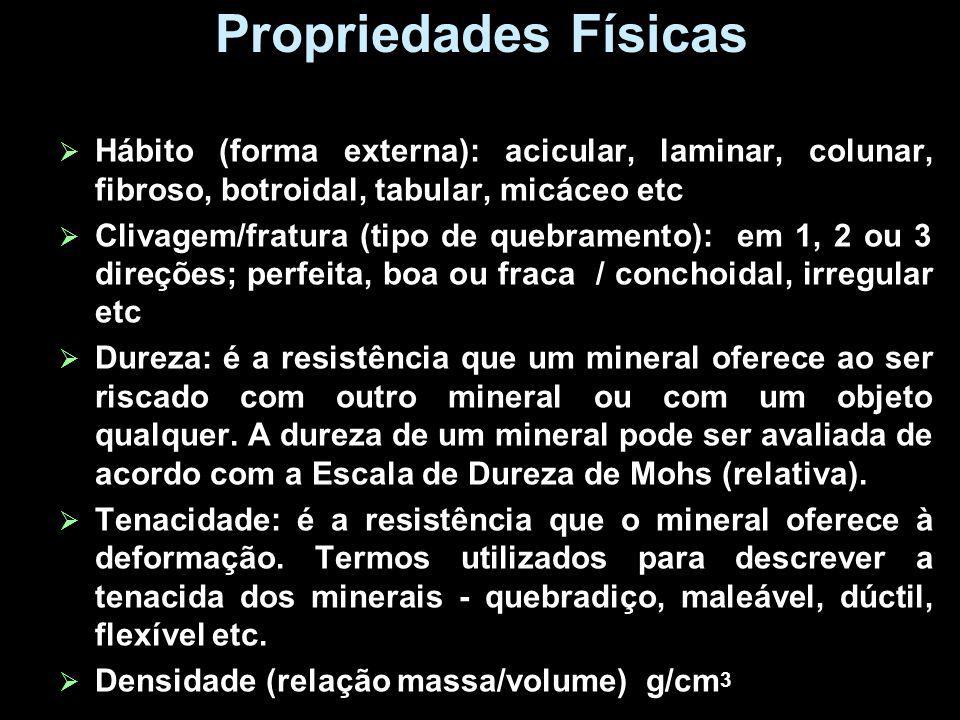 Propriedades Físicas Hábito (forma externa): acicular, laminar, colunar, fibroso, botroidal, tabular, micáceo etc Clivagem/fratura (tipo de quebrament