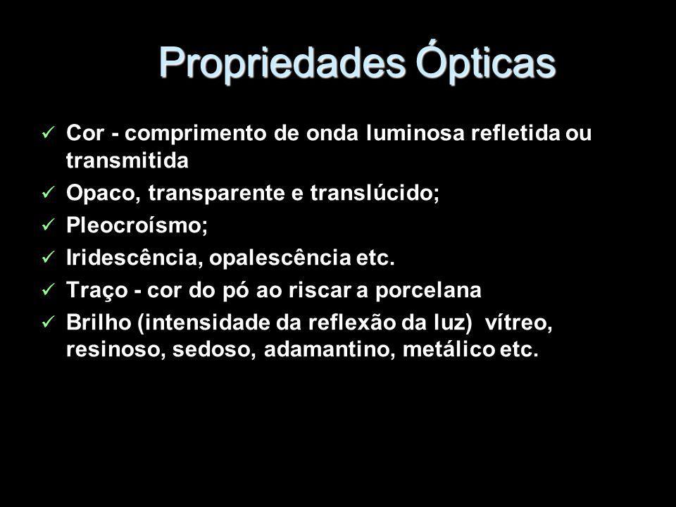 Propriedades Ópticas Cor - comprimento de onda luminosa refletida ou transmitida Opaco, transparente e translúcido; Pleocroísmo; Iridescência, opalesc