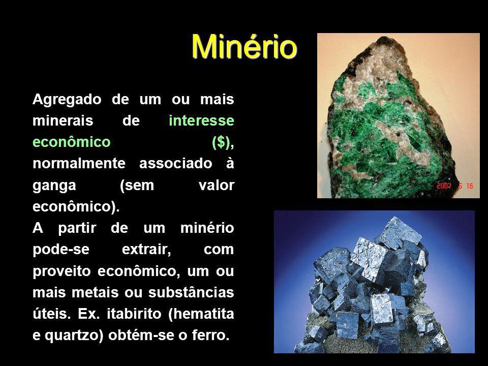 Minério Agregado de um ou mais minerais de interesse econômico ($), normalmente associado à ganga (sem valor econômico). A partir de um minério pode-s