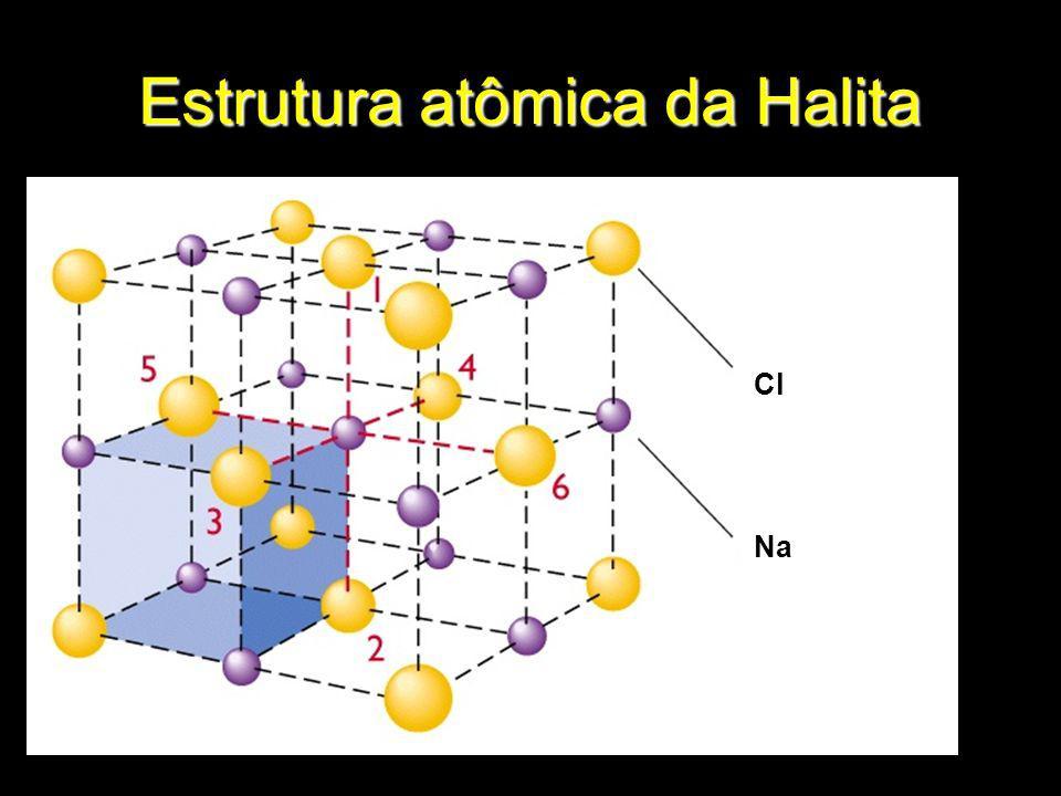 Halita (Cúbico) e Quartzo (Hexagonal)