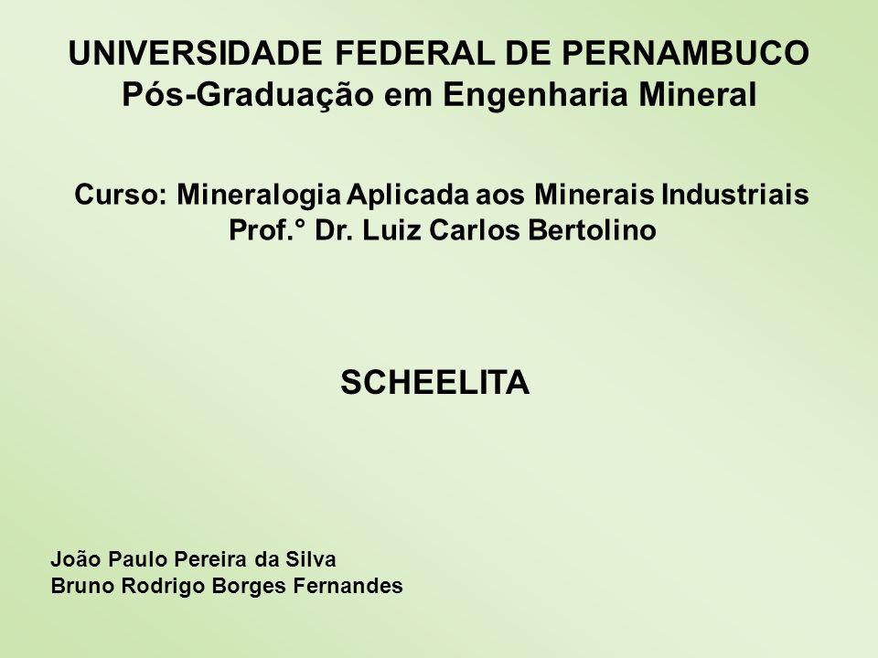 Minerais de Tungstênio Huebnerita (MnWO 4 ) MnO 23.43 % Mn 18.14 % WO 3 76.57 % W 60.72 % O 21.14 % Ferberita (FeWO 4 ) FeO 23.66 % Fe 8.39 % WO 3 76.34 % W 60.54 % O 21.07 %
