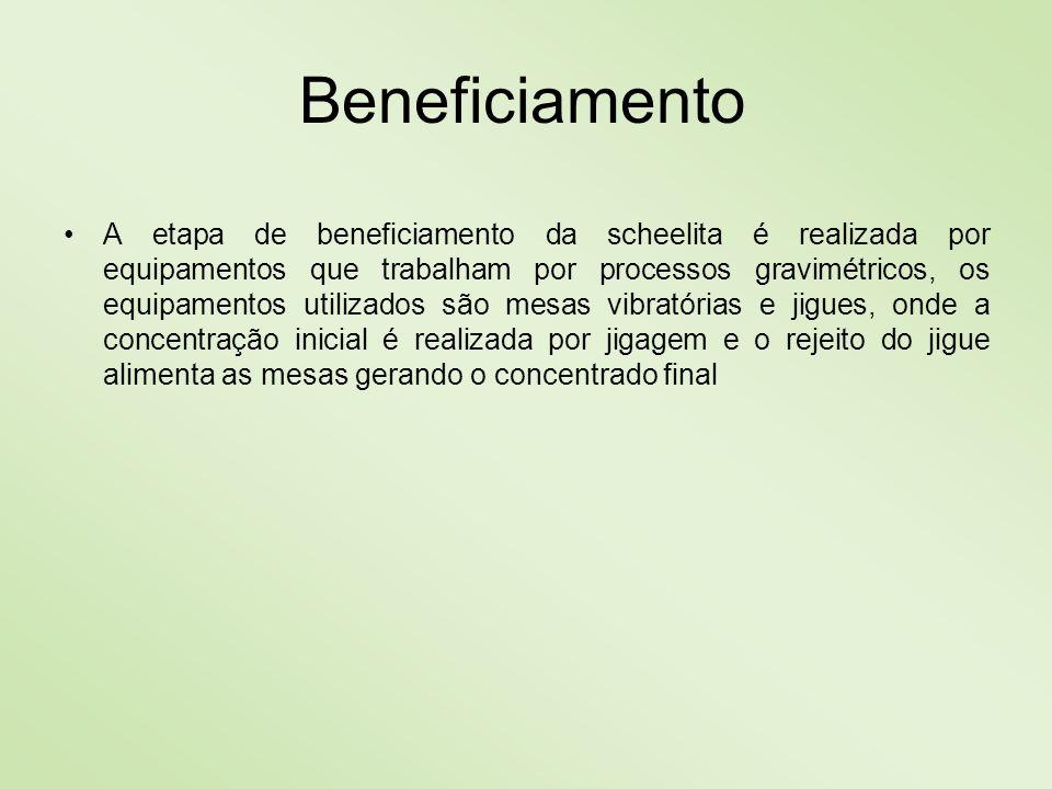 Beneficiamento A etapa de beneficiamento da scheelita é realizada por equipamentos que trabalham por processos gravimétricos, os equipamentos utilizad