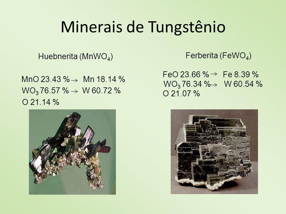 Minerais de Tungstênio Scheelita (CaWO 4 ) CaO 19.48 % Ca13.92 % WO 3 80.52 % W 63.85 % O 22.23 % Wolframita ((FeMn)WO 4 ) MnO11.70 % Mn 9.06 % FeO 11.85 % Fe 9.21 % WO 3 76.46 % W 60.63 % O 21.10 %