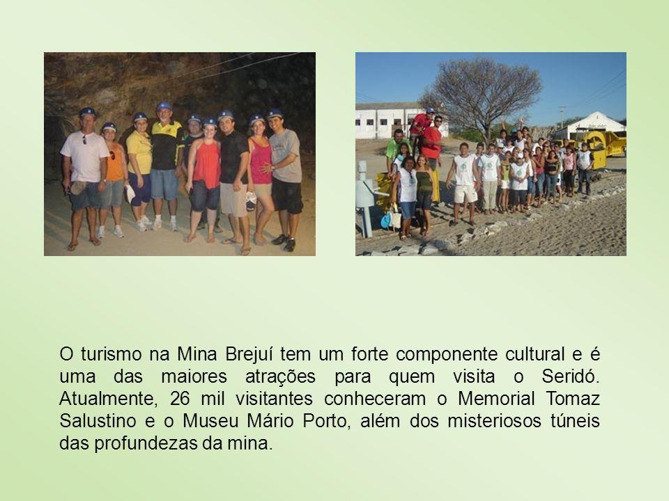 O turismo na Mina Brejuí tem um forte componente cultural e é uma das maiores atrações para quem visita o Seridó. Atualmente, 26 mil visitantes conhec