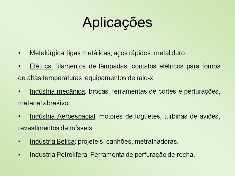 Aplicações Metalúrgica: ligas metálicas, aços rápidos, metal duro Elétrica: filamentos de lâmpadas, contatos elétricos para fornos de altas temperatur