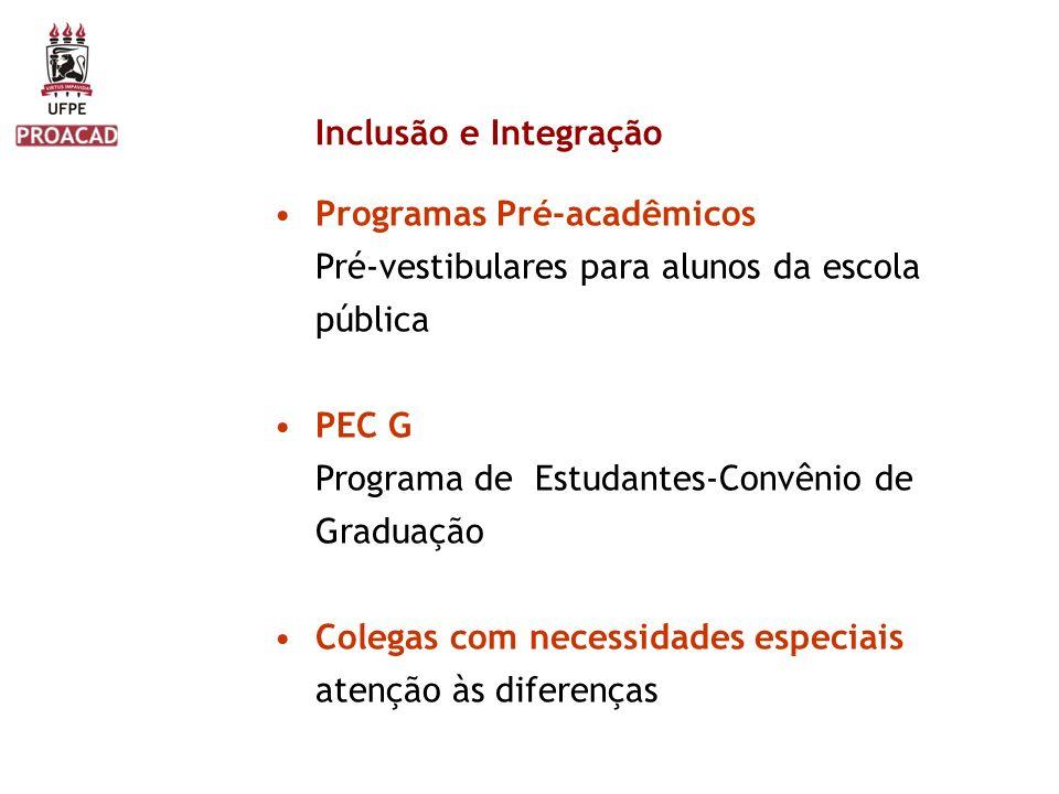 Inclusão e Integração Programas Pré-acadêmicos Pré-vestibulares para alunos da escola pública PEC G Programa de Estudantes-Convênio de Graduação Coleg