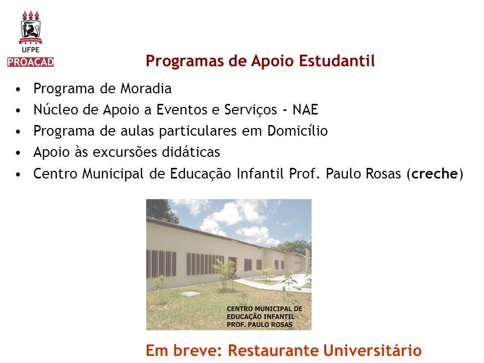 Programa de Moradia Núcleo de Apoio a Eventos e Serviços - NAE Programa de aulas particulares em Domicílio Apoio às excursões didáticas Centro Municip