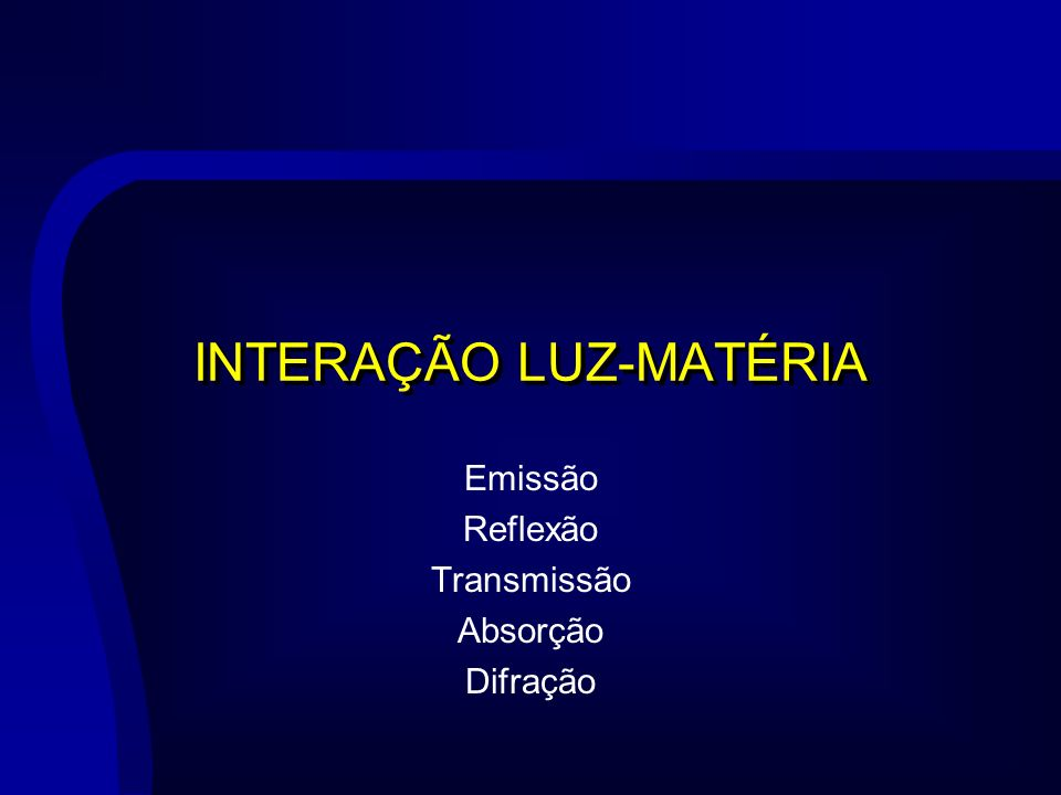INTERAÇÃO LUZ-MATÉRIA Emissão Reflexão Transmissão Absorção Difração