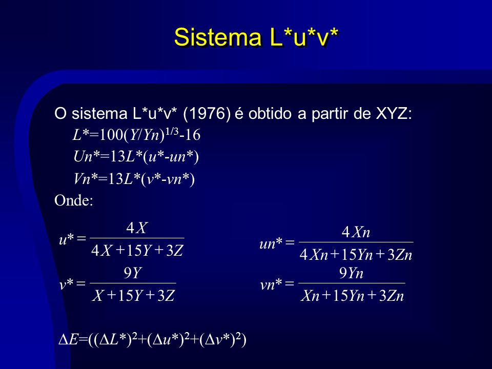 Sistema L*u*v* O sistema L*u*v* (1976) é obtido a partir de XYZ: L*=100(Y/Yn) 1/3 -16 Un*=13L*(u*-un*) Vn*=13L*(v*-vn*) Onde: u X XYZ * 4 4153 v Y XYZ