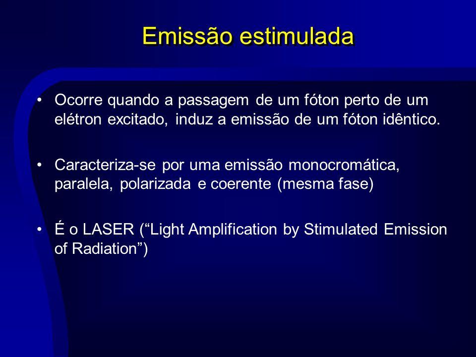 Emissão estimulada Ocorre quando a passagem de um fóton perto de um elétron excitado, induz a emissão de um fóton idêntico. Caracteriza-se por uma emi