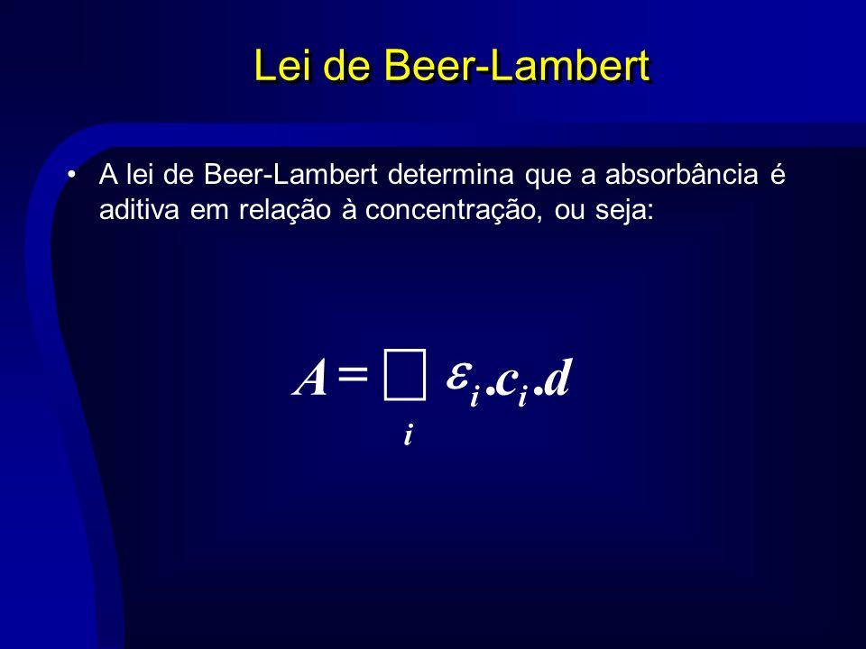 Lei de Beer-Lambert A lei de Beer-Lambert determina que a absorbância é aditiva em relação à concentração, ou seja: i ii dcA..