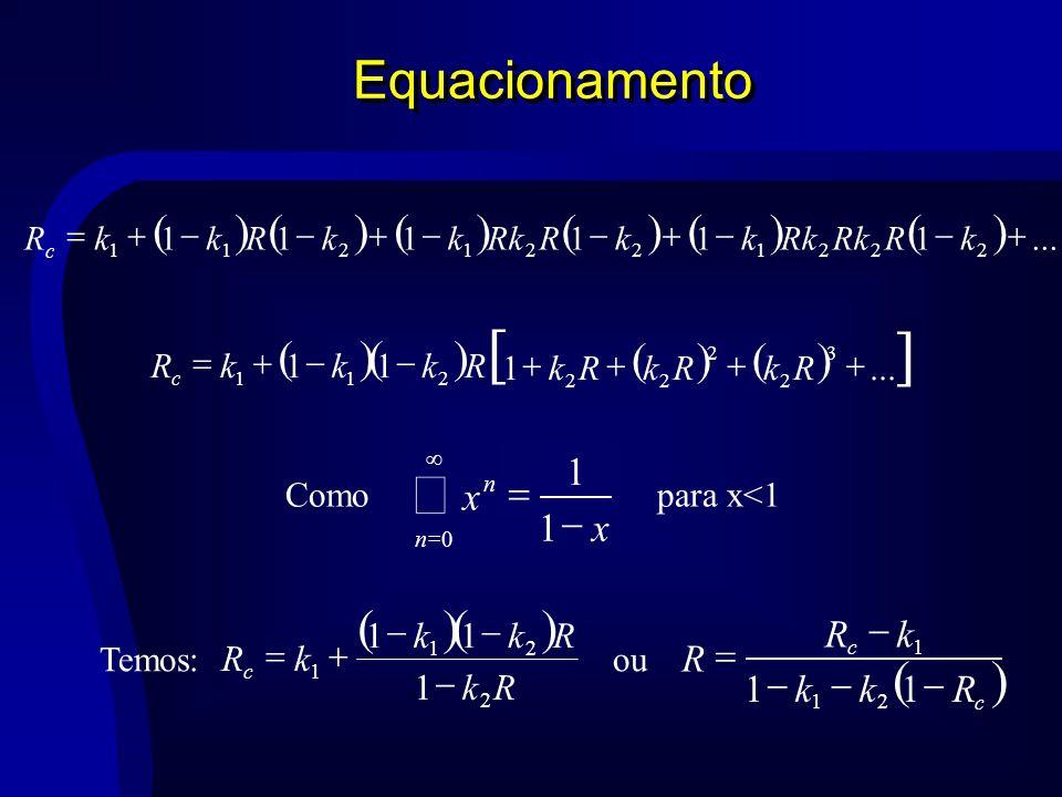 Equacionamento...111111 2221221211 kRRk kkR kkRkkR c...1 11 3 2 2 22 211 RkRkRk RkkkR c x x n n 1 1 0 Comopara x<1 Rk Rkk kR c 2 21 1 1 11 c c Rkk kR