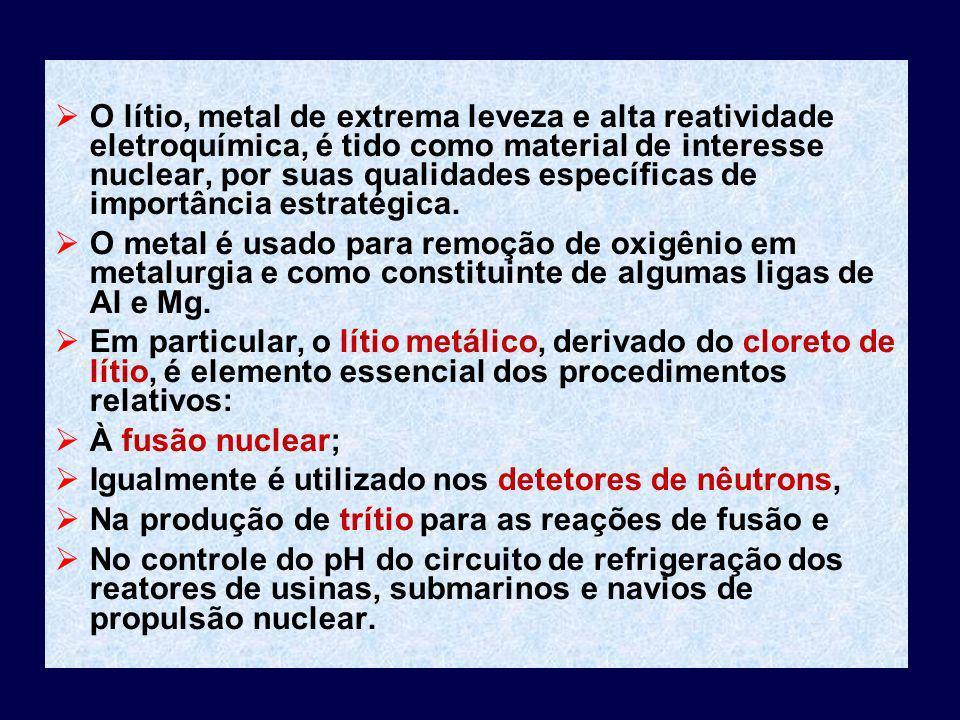 O lítio, metal de extrema leveza e alta reatividade eletroquímica, é tido como material de interesse nuclear, por suas qualidades específicas de impor
