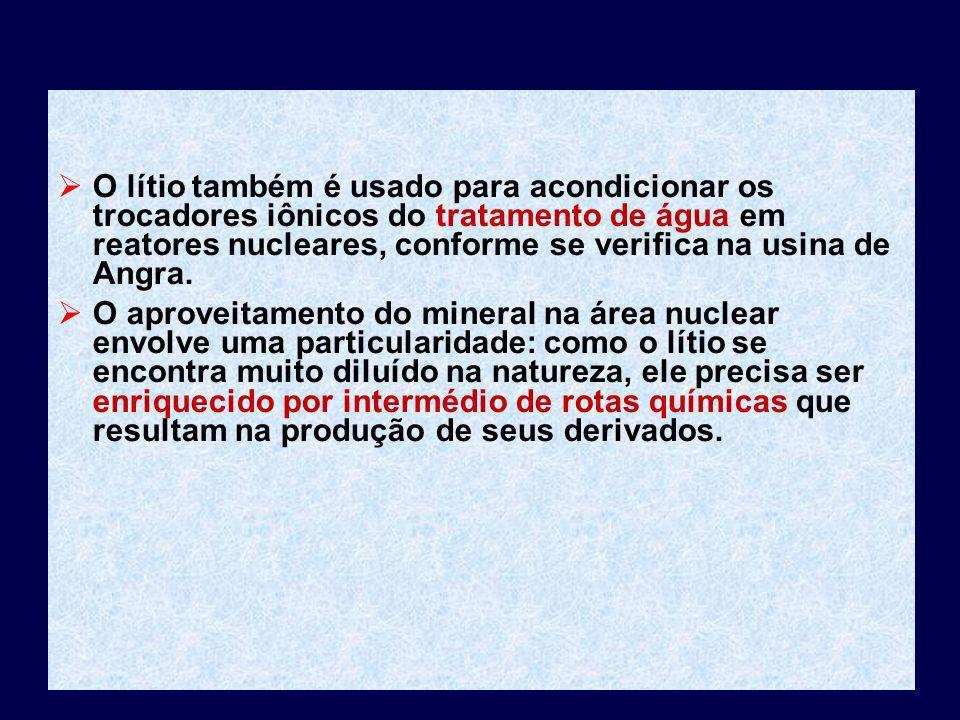O lítio também é usado para acondicionar os trocadores iônicos do tratamento de água em reatores nucleares, conforme se verifica na usina de Angra. O