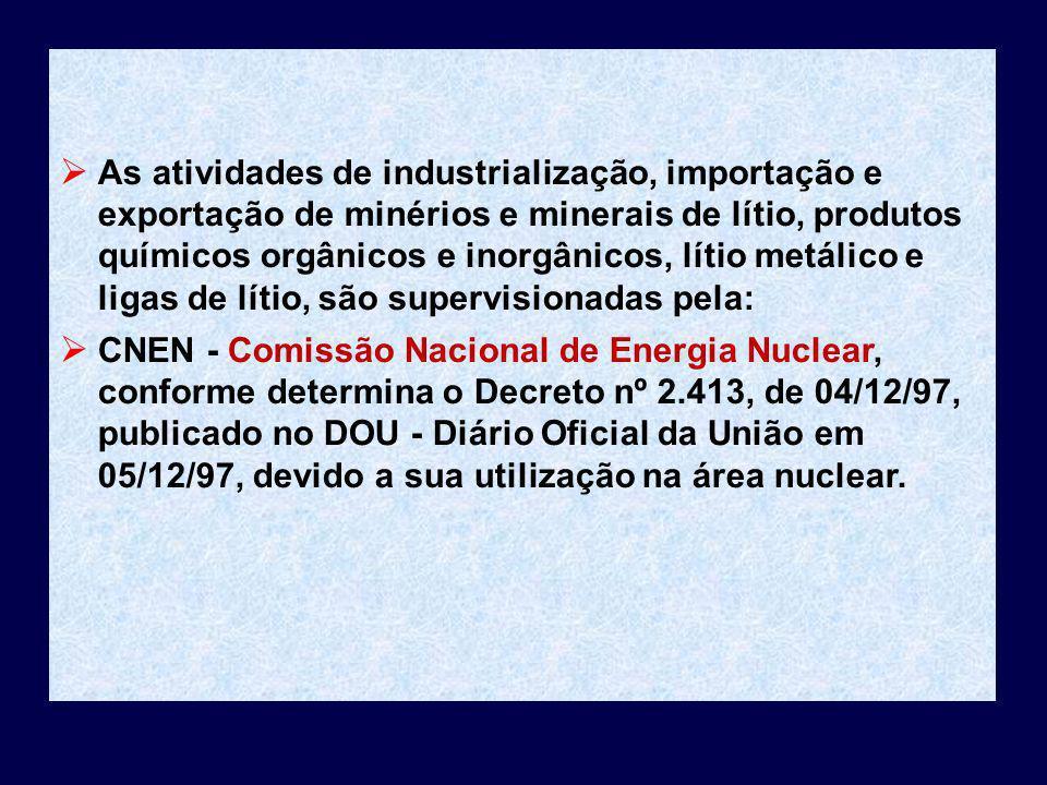 As atividades de industrialização, importação e exportação de minérios e minerais de lítio, produtos químicos orgânicos e inorgânicos, lítio metálico
