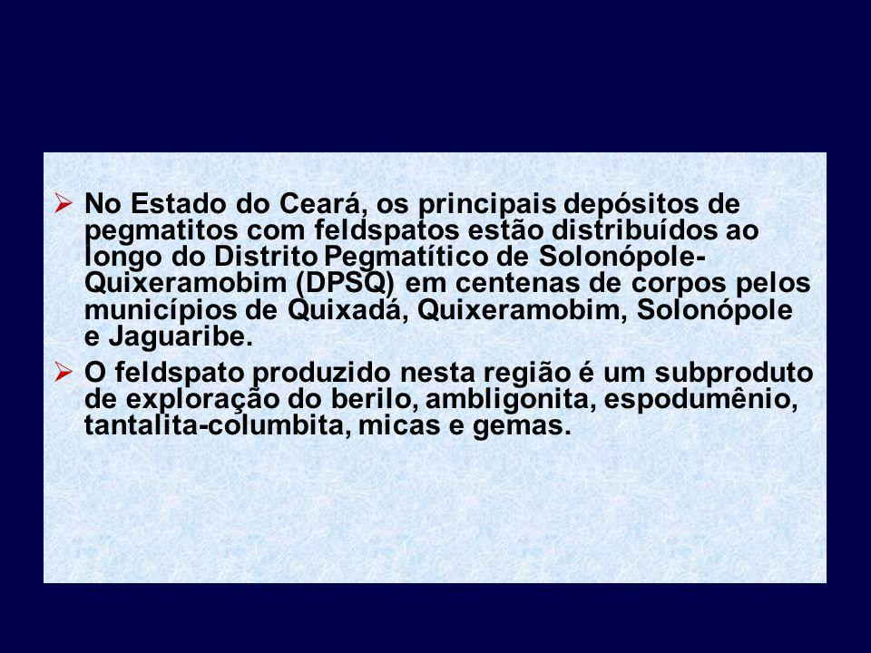 No Estado do Ceará, os principais depósitos de pegmatitos com feldspatos estão distribuídos ao longo do Distrito Pegmatítico de Solonópole- Quixeramob